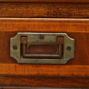 Antique Campaign Style Mahogany & Leather Pedestal Desk