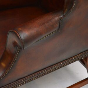 Pair of Antique Leather & Mahogany Wing Back Armchairs