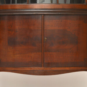 Antique Edwardian Bow Fronted Mahogany Inlaid Display Cabinet