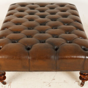 Large Antique Deep Buttoned Distressed Leather Stool / Coffee Table