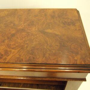Pair of Part-Victorian Burr Walnut Open Bookcases