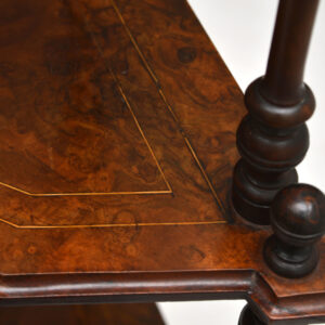 Antique Victorian Walnut Inlaid Corner What Not