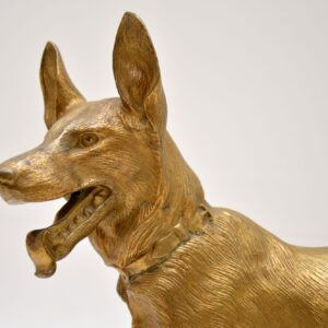 Large Antique Gilt Bronze Dog Sculpture by Robert Bousquet