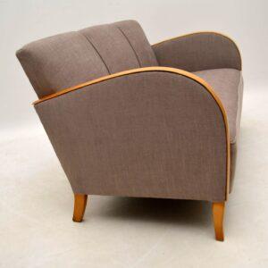 Swedish Art Deco Satin Birch Upholstered Sofa