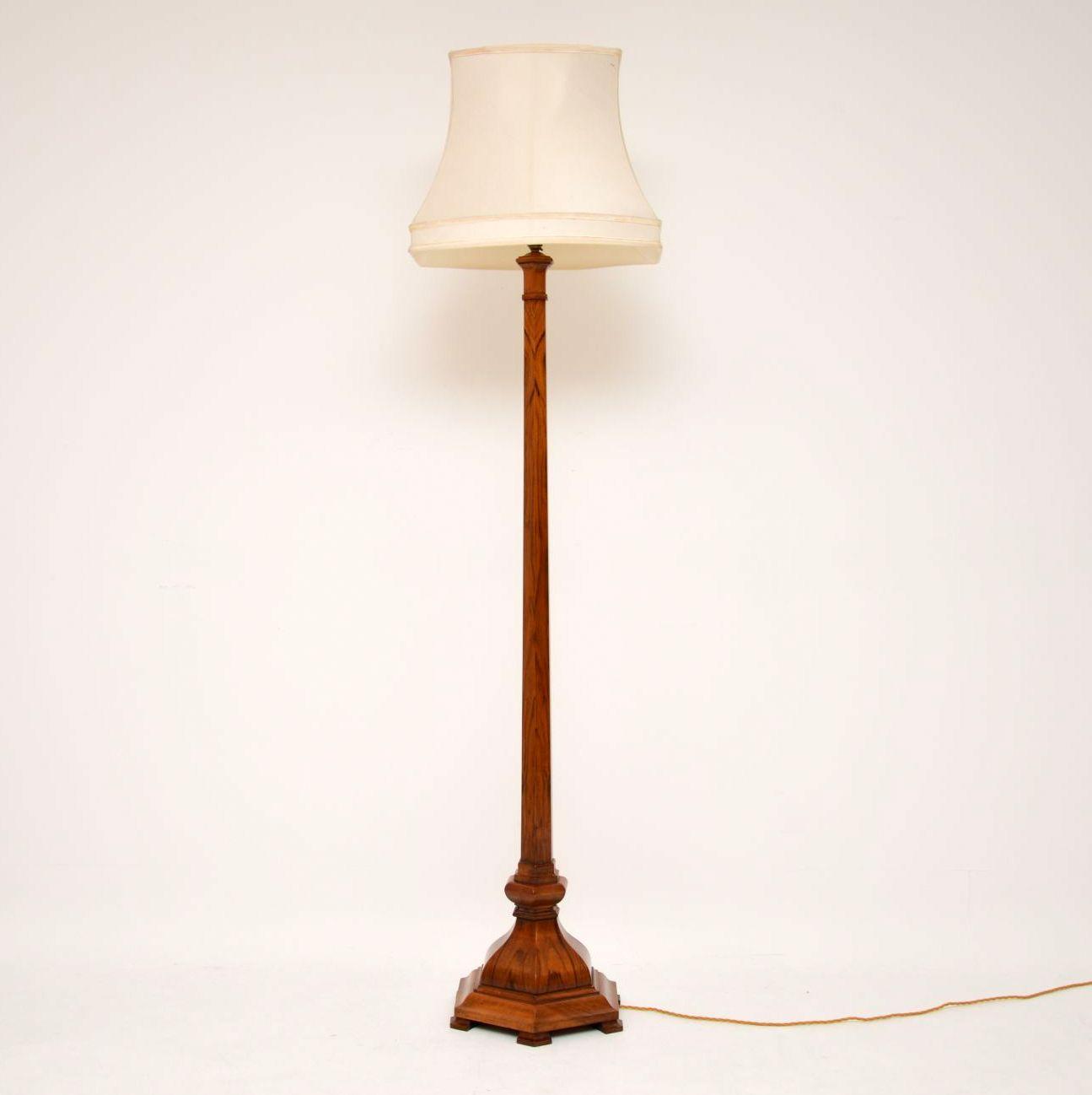 Antique Figured Walnut Lamp Stand