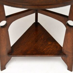 Antique Oak & Copper Arts & Crafts Side Table