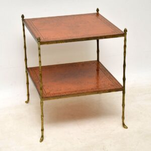 Antique Brass & Leather Coffee Table / Side Table