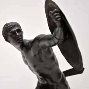 Antique Neo-Classical Greek Warrior Bronze Sculpture