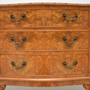 Antique Queen Anne Style Burr Walnut Sideboard
