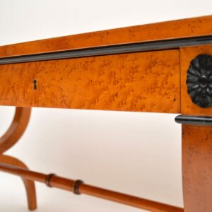 Antique Regency Style Burr Maple Leather Top Writing Table