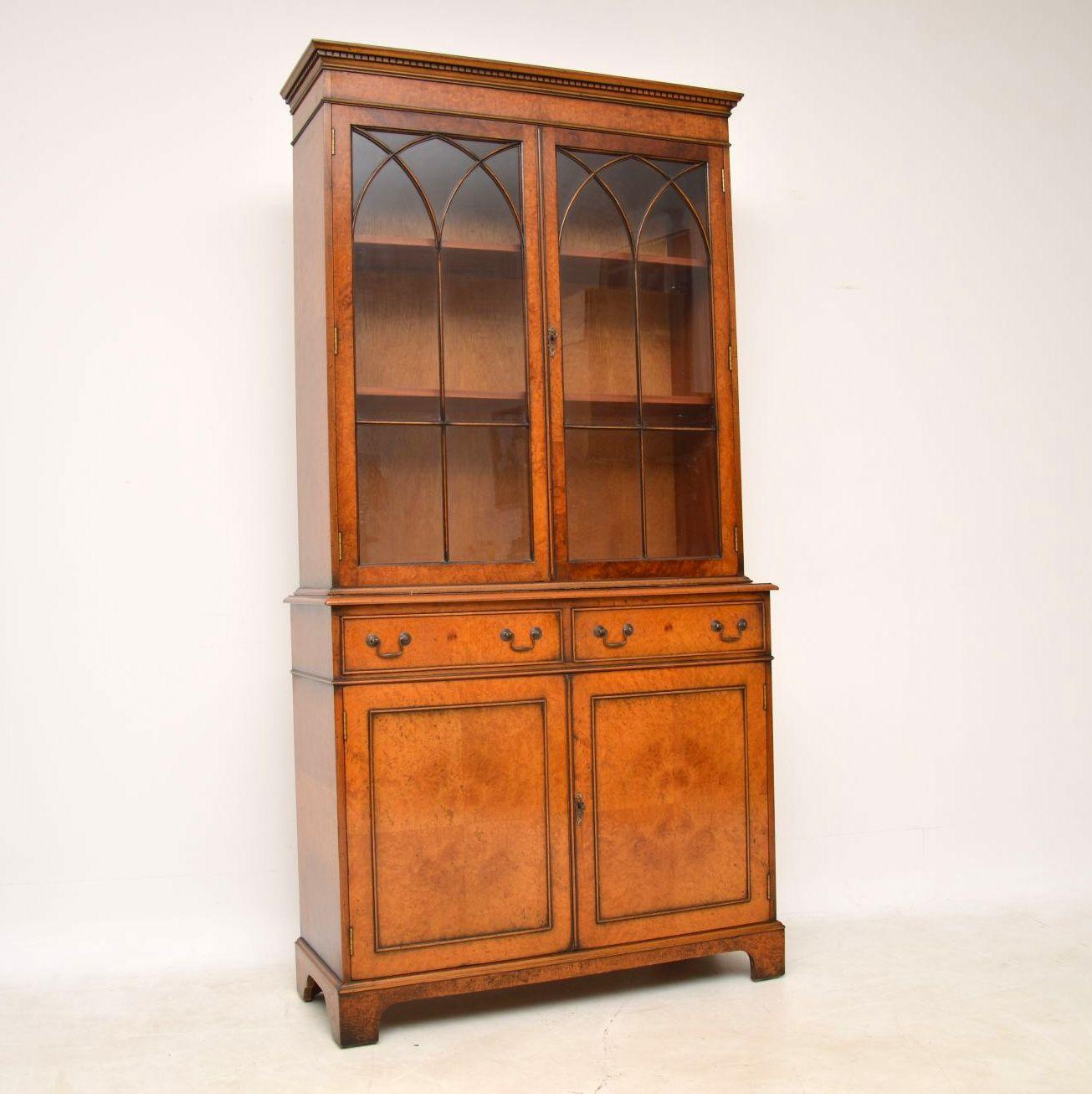 Antique Georgian Style Burr Walnut Bookcase