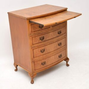 Antique Burr Walnut Bow Front Chest of Drawers