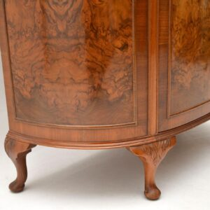 Antique Burr Walnut Bow Front Cabinet