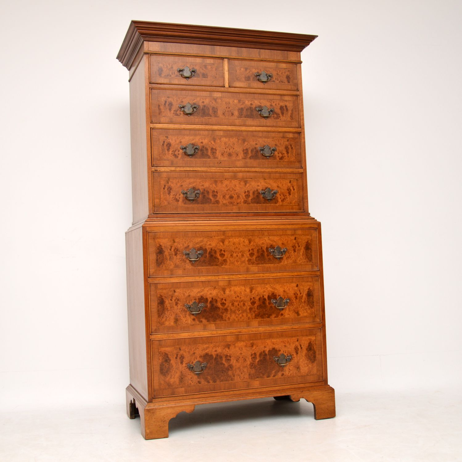 Large Antique Georgian Style Burr Walnut Chest on Chest