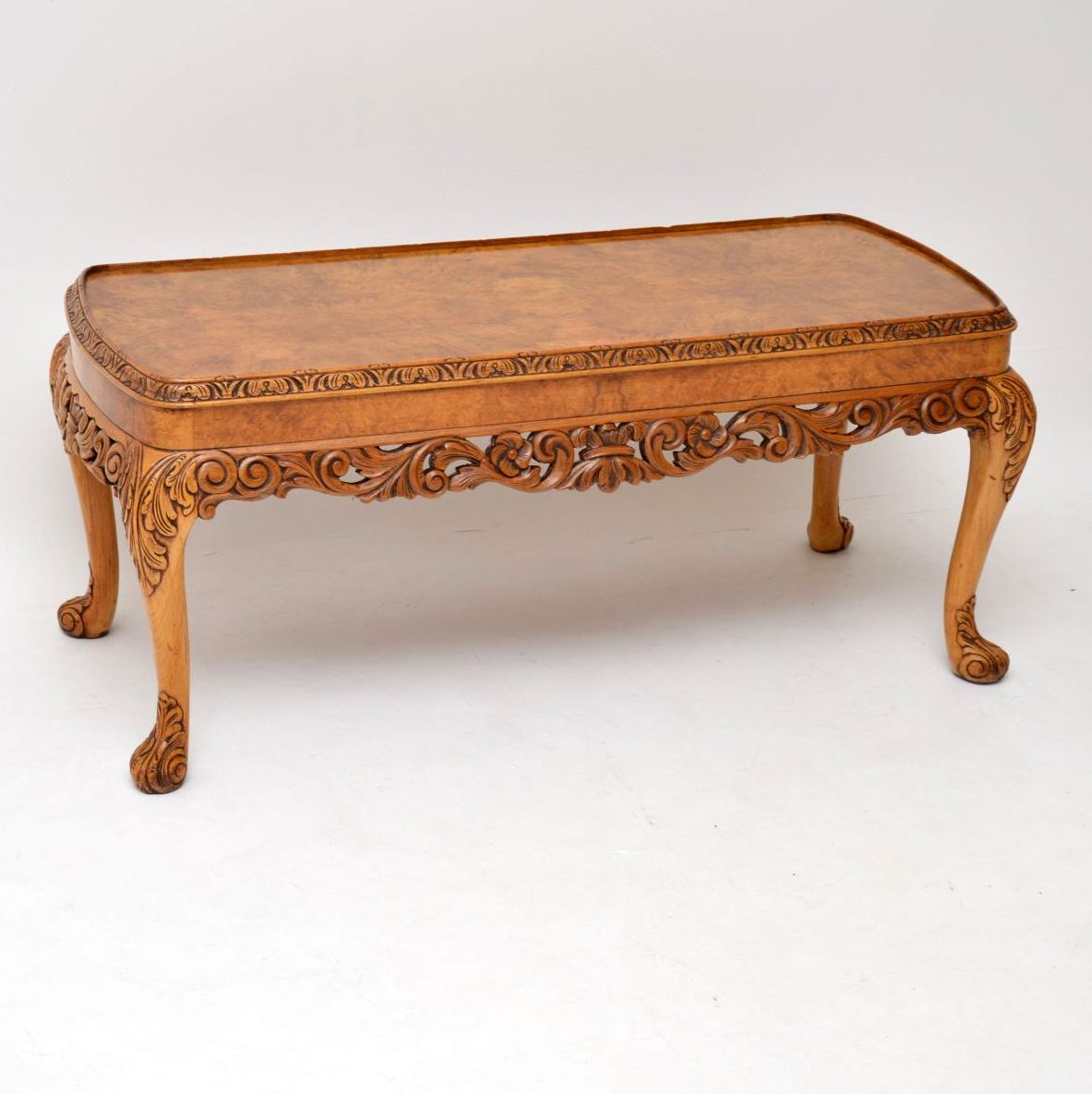 Antique Queen Anne Style Carved Walnut Coffee Table