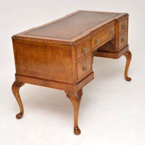 Antique Burr Walnut Leather Top Desk