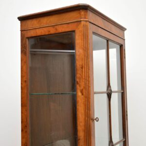 Slim Antique Burr Walnut Display Cabinet