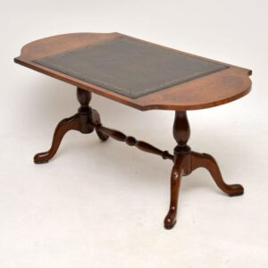Antique Walnut Leather Topped Coffee Table