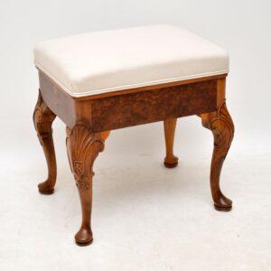 Antique Burr Walnut Upholstered Stool