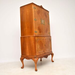 Antique Burr Walnut Queen Anne Style Cocktail Cabinet
