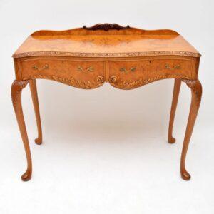 Antique Queen Anne Style Burr Walnut Server Table