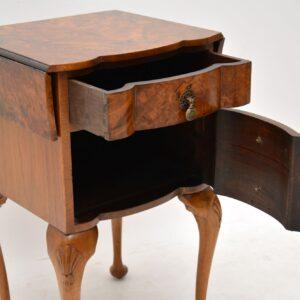 Antique Burr Walnut Drop Leaf Side Table
