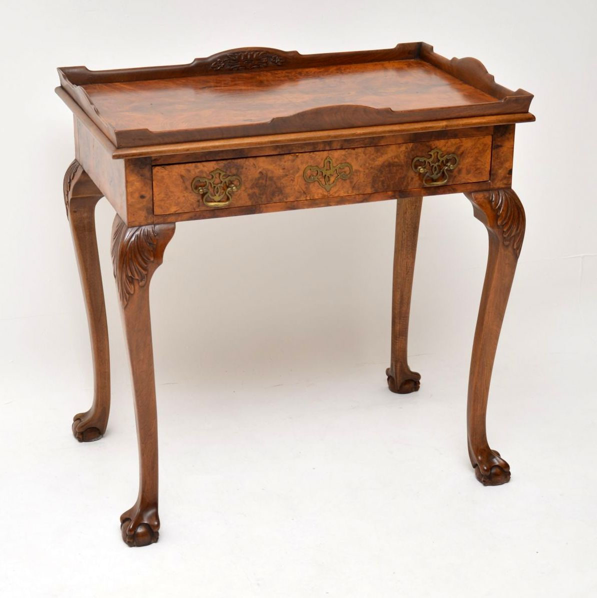 Antique Burr Walnut Tray Top Side Table