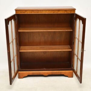 Antique Burr Walnut Two Door Bookcase