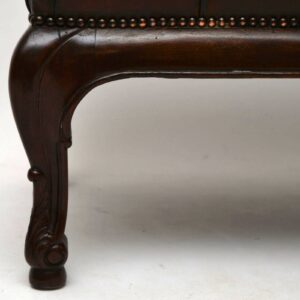 Antique Deep Buttoned Leather & Mahogany Stool