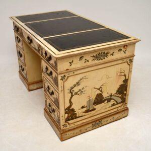 Antique Chinoiserie Pedestal Desk