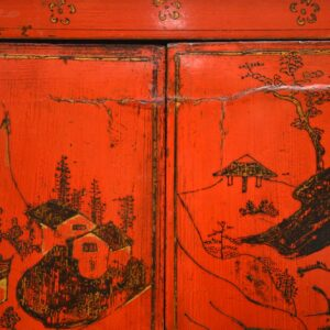 Antique Chinese Lacquered Wedding Cabinet