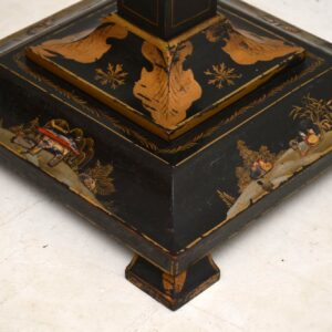 Antique Lacquered Chinoiserie Lamp Stand