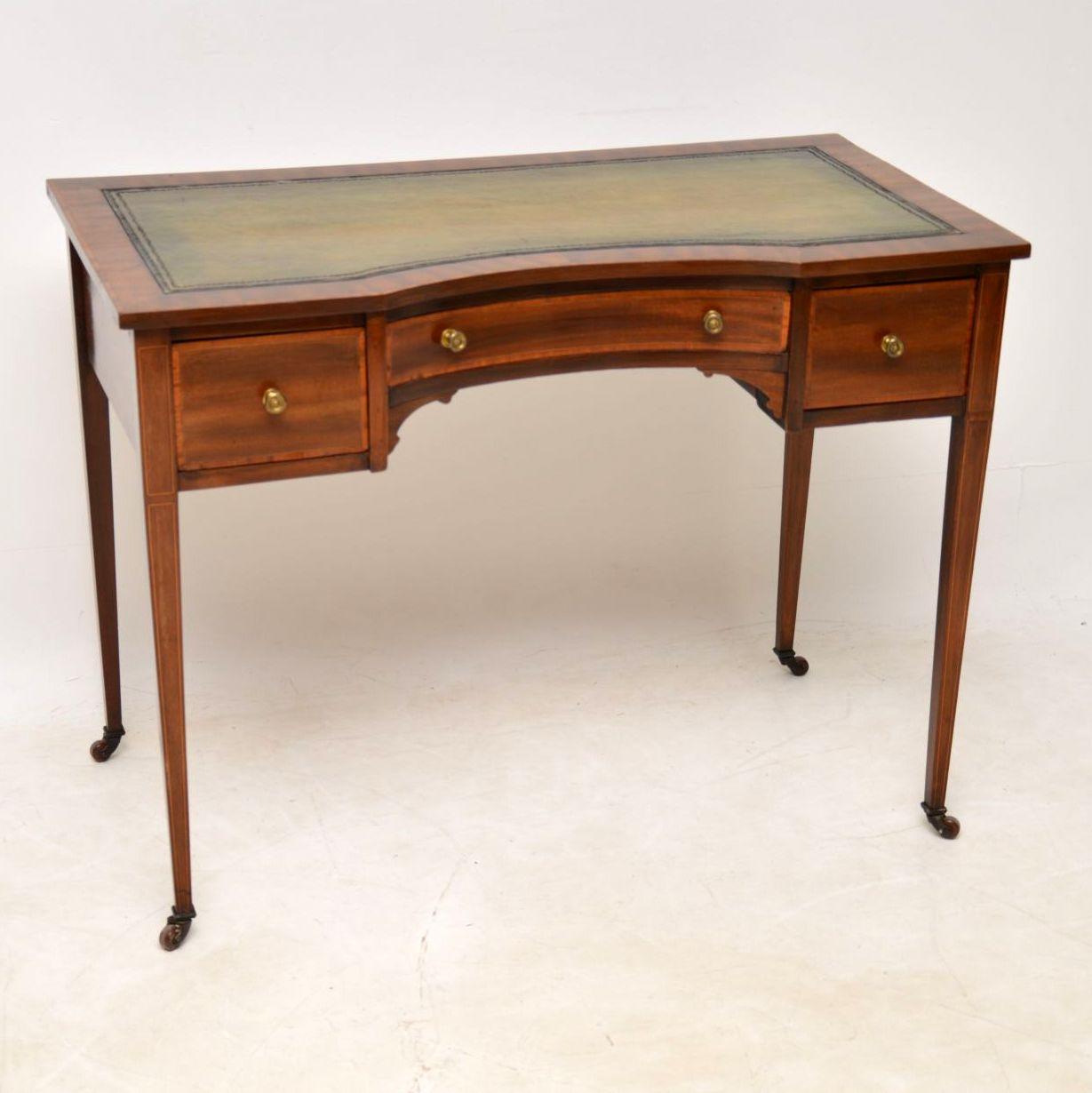 Antique Edwardian Inlaid Mahogany Writing Table / Desk