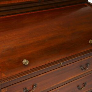 Antique Edwardian Inlaid Mahogany Cylinder Bureau Bookcase