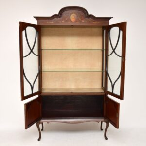 Antique Edwardian Painted Mahogany Display Cabinet