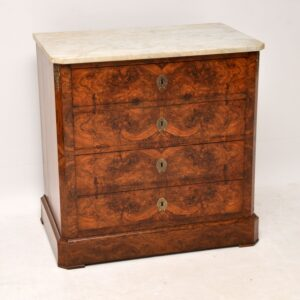 Antique French Burr Walnut Marble Top Commode