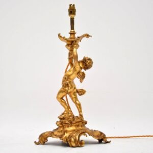 Large Antique French Gilt Bronze Table Lamp