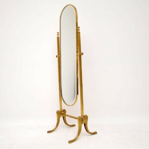 Antique French Style Brass Cheval Mirror
