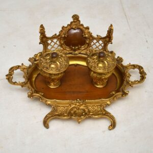 Antique French Gilt Bronze & Walnut Inkwell