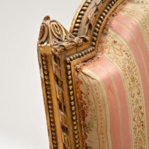 Antique French Carved Gilt Wood Armchair