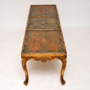 Antique French Gilt Wood & Leather Coffee Table