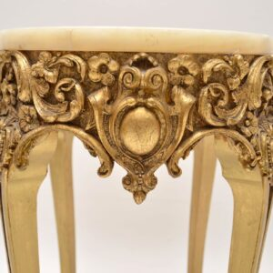 Antique French Gilt Wood Marble Top Side Table