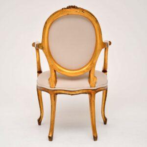 Antique French Gilt Wood Salon Armchair