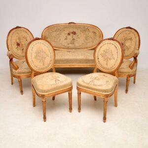 Antique French Gilt Wood Salon Sofa