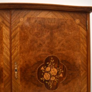 Antique French Burr Walnut & Marquetry Cocktail Cabinet