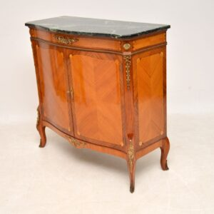 Antique French Marble Top Inlaid Cabinet