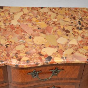 Antique French Inlaid Marble Top Secretaire Commode