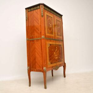 Antique French Kingwood & Marquetry Cocktail Drinks Cabinet