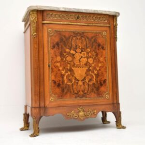 Antique French Marble Top Marquetry & Ormolu Cabinet
