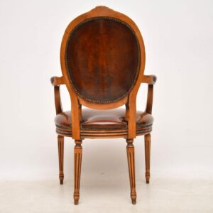 Antique French Leather Salon Armchair